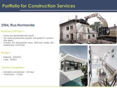 Civil Building Construction Proposal Portfolio For Construction Services Ideas PDF