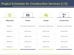 Civil Building Construction Proposal Project Schedule For Construction Services Design Icons PDF