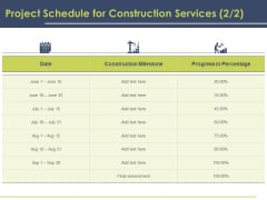 Civil Building Construction Proposal Project Schedule For Construction Services Milestone Introduction PDF
