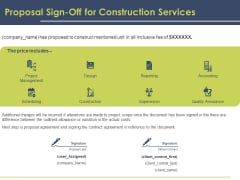 Civil Building Construction Proposal Proposal Sign Off For Construction Services Summary PDF