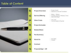 Civil Building Construction Proposal Table Of Content Pictures PDF
