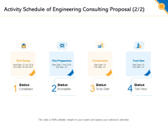 Civil Construction Activity Schedule Of Engineering Consulting Proposal Site Brochure PDF