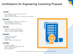 Civil Construction Certifications For Engineering Consulting Proposal Brochure PDF