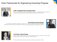 Civil Construction Client Testimonials For Engineering Consulting Proposal Brochure PDF