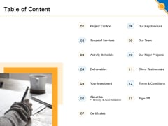 Civil Construction Engineering Consulting Proposal Table Of Content Sample PDF