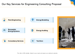 Civil Construction Our Key Services For Engineering Consulting Proposal Designs PDF