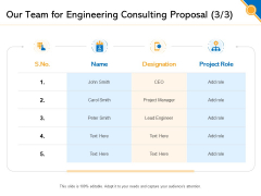 Civil Construction Our Team For Engineering Consulting Proposal Demonstration PDF