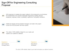 Civil Construction Sign Off For Engineering Consulting Proposal Professional PDF