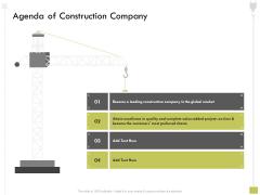 Civil Contractors Agenda Of Construction Company Ppt Model Master Slide PDF