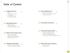 Civil Contractors Table Of Content Ppt Pictures Mockup PDF
