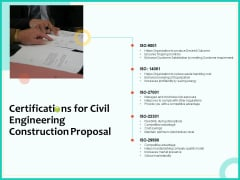 Civil Engineering Consulting Services Certifications For Civil Engineering Construction Proposal Background PDF