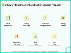 Civil Engineering Consulting Services Our Key Civil Engineering Construction Services Proposal Slides PDF