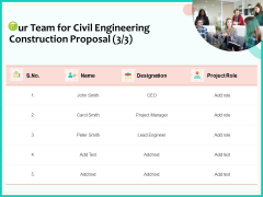 Civil Engineering Consulting Services Our Team For Civil Engineering Construction Proposal Diagrams PDF