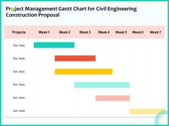 Civil Engineering Consulting Services Project Management Gantt Chart For Civil Engineering Construction Proposal Formats PDF