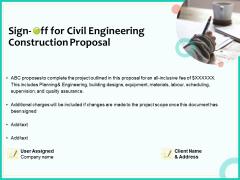 Civil Engineering Consulting Services Sign Off For Civil Engineering Construction Proposal Designs PDF