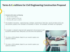 Civil Engineering Consulting Services Terms And Conditions For Civil Engineering Construction Proposal Introduction PDF