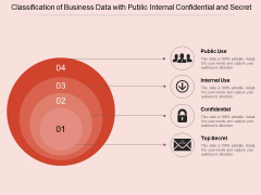 Classification Of Business Data With Public Internal Confidential And Secret Ppt PowerPoint Presentation Gallery Slides PDF