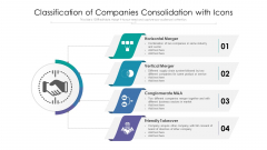 Classification Of Companies Consolidation With Icons Ppt Show Professional PDF