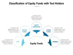 Classification Of Equity Funds With Text Holders Ppt PowerPoint Presentation Pictures Designs