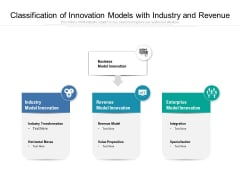 Classification Of Innovation Models With Industry And Revenue Ppt PowerPoint Presentation File Ideas PDF