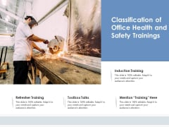 Classification Of Office Health And Safety Trainings Ppt PowerPoint Presentation Infographic Template Show PDF