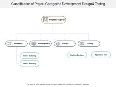 Classification Of Project Categories Development Designand Testing Ppt PowerPoint Presentation Portfolio Layout Ideas