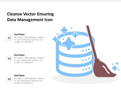 Cleanse Vector Ensuring Data Management Icon Ppt PowerPoint Presentation File Format Ideas PDF