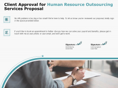 Client Approval For Human Resource Outsourcing Services Proposal Brochure PDF