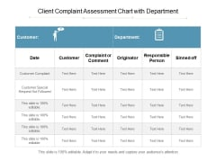 Client Complaint Assessment Chart With Department Ppt PowerPoint Presentation Gallery Deck PDF