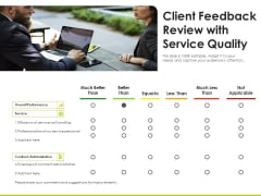 Client Feedback Review With Service Quality Ppt PowerPoint Presentation Icon Samples PDF