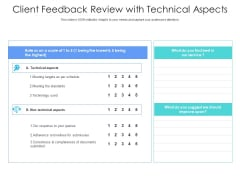 Client Feedback Review With Technical Aspects Ppt PowerPoint Presentation Infographic Template Infographics PDF