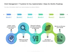 Client Management IT Systems For Key Implementation Steps Six Months Roadmap Diagrams