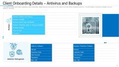 Client Onboarding Details Antivirus And Backups Ppt Designs PDF