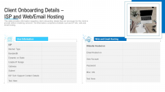 Client Onboarding Details ISP And Web Email Hosting Ppt Styles Mockup PDF