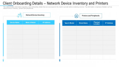 Client Onboarding Details Network Device Inventory And Printers Ppt Infographic Template Outline PDF