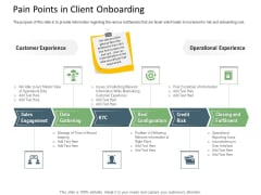 Client Onboarding Framework Pain Points In Client Onboarding Template PDF