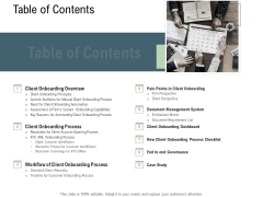 Client Onboarding Framework Table Of Contents Ppt Portfolio Clipart Images PDF