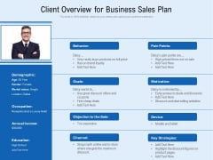 Client Overview For Business Sales Plan Ppt PowerPoint Presentation Gallery Inspiration PDF