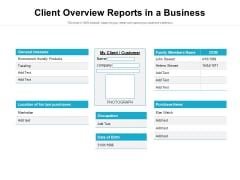 Client Overview Reports In A Business Ppt PowerPoint Presentation Gallery Picture PDF