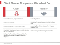 Client Planner Comparison Worksheet For Establishing Financial Direction Ppt PowerPoint Presentation Deck