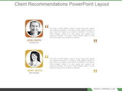 Client Recommendations Powerpoint Layout