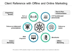 Client Reference With Offline And Online Marketing Ppt PowerPoint Presentation Gallery Shapes PDF