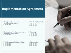 Client Relationship Administration Proposal Template Implementation Agreement Brochure PDF