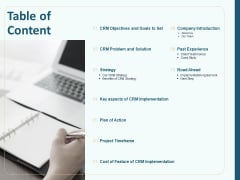 Client Relationship Administration Proposal Template Table Of Content Formats PDF