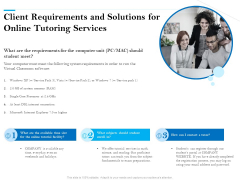 Client Requirements And Solutions For Online Tutoring Services Ppt PowerPoint Presentation Summary Pictures PDF