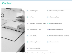 Client Specific Progress Assessment Content Ppt Styles Examples PDF