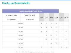 Client Specific Progress Assessment Employee Responsibility Ppt Gallery Shapes PDF