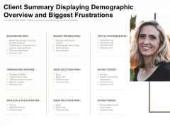Client Summary Displaying Demographic Overview And Biggest Frustrations Ppt PowerPoint Presentation Outline Aids PDF