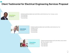 Client Testimonial For Electrical Engineering Services Proposal Ppt Icon Layout Ideas PDF