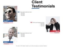 Client Testimonials Communication Ppt Powerpoint Presentation Styles Background Designs